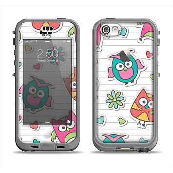 The Colored Cartoon Owl Cutouts on Paper Apple iPhone 5c LifeProof Nuud Case Skin Set