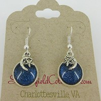 Silver-Tone Blue Glitter Glass Crescent Moon and Star Charm Galaxy Dangle Earrings