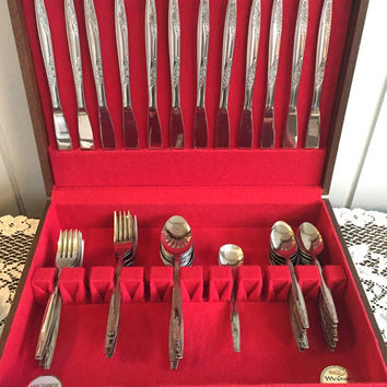 Memorial Day Sale Sale Reduced Vintage Rosemere Imperial Stainless Flatware Set Silverware Wedding or Anniversay Gift Full Service for 8