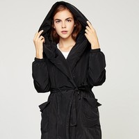 Women's Warm Down Coats Winter Polyester Duck Down Black Hooded Jackets Adjustable Waist Thick Coat Jacket