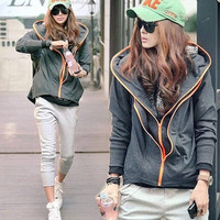 Grey Cotton Women Fashion Winter Style Long Sleeve Zipper With Hoodies Coat = 1932718596