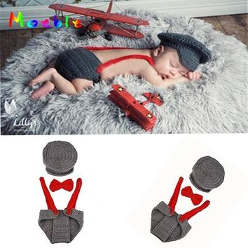 Gray Pilot Set for Newborn Photography Props Crochet Knitted Baby Boys Costume for Photo Shoot Baby Accessories Fotografia