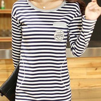Stripe Badge Patched Long Sleeve Top