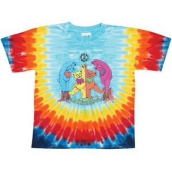 Grateful Dead Men's  Wood Bears Sunburst Tie Dye T-shirt Multi
