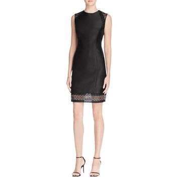 Carmen Marc Valvo Womens Illusion Detail Sequined Cocktail Dress