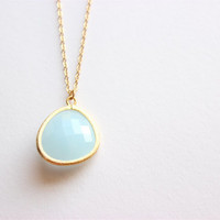 "Gold Necklace - Stone Necklace - Long Necklace - 28"" - Large Light Blue Glass Stone Pendant on Matte Gold Chain Necklace"