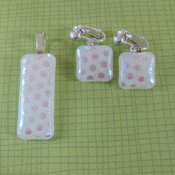 Polka Dot Pendant Clip on Earring Set, Necklace and Clip Earrings Set, Polka Dot Jewelry Set - Husher - 4226 -3
