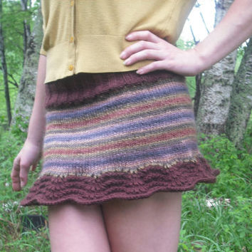 Retro Mini Skirt Pixie Skirt Hand Knitted Ready To Ship