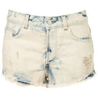 MOTO Bleach Splatter Hotpants - Denim  - Apparel