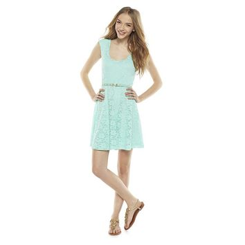 Candie's Floral Lace Skater Dress