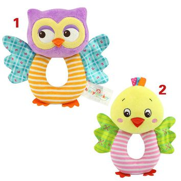 Fashion Newborn Infant Rattles Toy Handbell Cartoon Animal Owl/Chicks Boy Girl Hand Bell Toddler Baby Plush Toys Gifts M