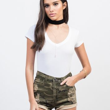 Destroyed Camo High Waisted Shorts