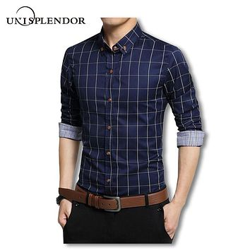 Plus Size 4XL 5XL 2019 Men's Plaid Cotton Dress Shirts Male Long Sleeve Slim Fit Men Business Casual Shirt Camisa For Man YN259