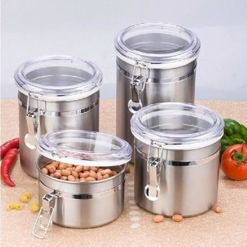 Stainless Steel Airtight Sealed Canister Coffee Flour Sugar Tea Container Holder @LS