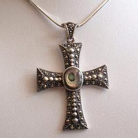 Abalone Cross Sterling Silver Necklace Marcasites Vintage CW0179