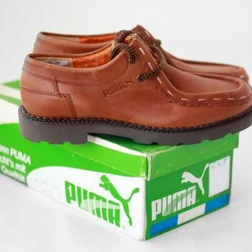 NEW Vintage Puma OXFORD Shoes / Leather Casual Leisure Loafers Moccasins Mens - Italy