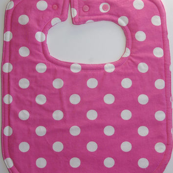 Girls toddler bib pink polkadot bib baby bib feeding accessories new baby gift bright toddler bib all cotton bib baby's first birthday girl