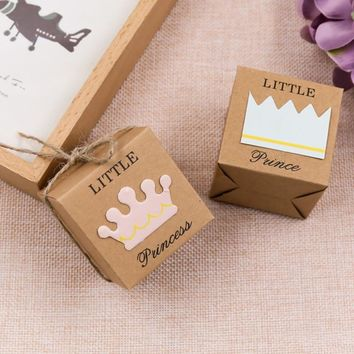 50Pcs/set Wedding Party Decoration Kraft Paper Candy Boxes King Queen Couple Crown For Home and Party Decor