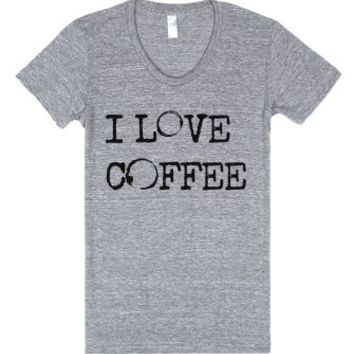 I Love Coffee (Rings)-Female Athletic Grey T-Shirt