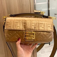 Fendi  New fashion more letter print leather women shoulder bag crossbody bag handbag Golden