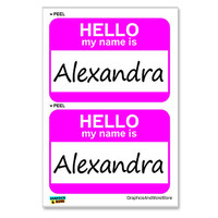 Alexandra Hello My Name Is - Sheet of 2 Stickers