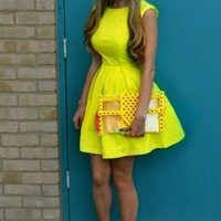 Neon Yellow Backless Skater Dress from RMW
