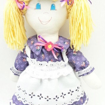 Hand Made Rag Doll blond pigtails cloth rag doll handmade ragdoll purple dress pink flower hat purple Mary Janes, NF92