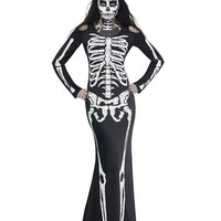 Skeleton Print Long Sleeve Bodycon Fishtail Maxi Dress