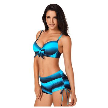 Beatnix Fashions Blue Black Ombre Push up Front Knot Boardshort Bikini - XL