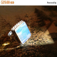 SUMMER FLASH Sale 65% Off Opalite Size 8 Ring Gemstone. 925 Sterling  Silver Tribal Ethnic