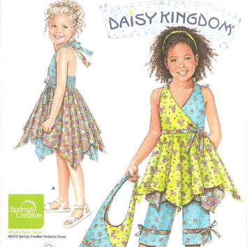 Simplicity 2431 Girls Daisy Kingdom Dress, Top. Capri, Bag, Sewing Pattern, Sizes 3 - 4 - 5 - 6 - 7 - 8, New, Uncut, Factory Folds