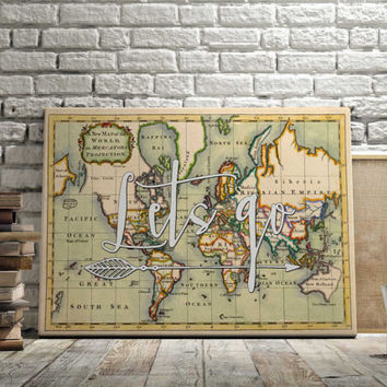 "World Map Poster Travel Quote Graduation Gift World Map Poster ""Lets go"" Inspirational Quote Vintage Map World Map Print INSTANT DOWNLOAD"