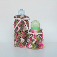 Pink Camouflage Baby Bottle Covers Two Girl  Cozies 2 Camo Cozy Infant  Boy Feeding Set Small And Large Pastel Green Brown Kozy  Shower Gift