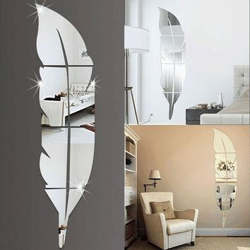 HOT 3D Feather Mirror Wall Sticker Room Decal Mural Art DIY Home Decoration Hot Sale