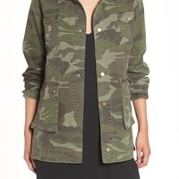 Sincerely Jules 'Alexa' Camo Cotton Military Jacket | Nordstrom
