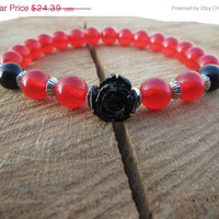 VALENTINE SALE Valentine Women Ruby Bracelet, Cranberry Red Bracelet, Coral Flower red Bracelet,Gift For Her Girlfriend Mom, Gift ideas