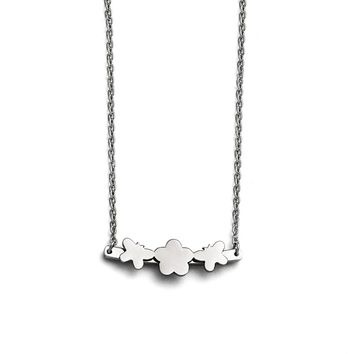 Butterfly & Flower Necklace in Stainless Steel - Lobster Claw