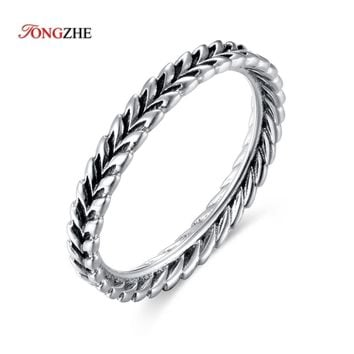 TONGZHE Fashion Feather Rings Stackable Angel Wing Love Wedding Finger Rings For Women Men Punk Jewelry bague femme CKTR015