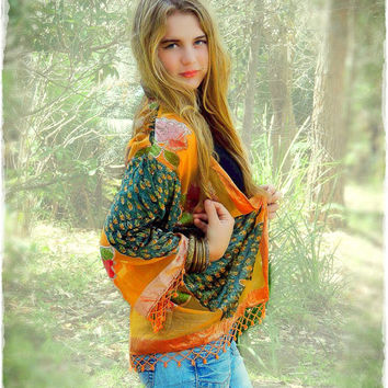 Cute beaded fringe kimono / peacock silk burnout velvet in tangerine orange with bird design / Stevie Nicks duster / hippie gypsy boho coat