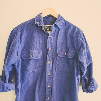 Vintage Blue Flannel Blue Men's Hipster Thick Cozy Northwest Seattle Portland Style Preppy Size Men's Medium Field & Stream Hunter Chic