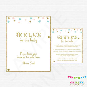 Gender Neutral Baby Shower, Twinkle Twinkle Little Star, Bring a Book Instead of Card, Pink Blue Gold Book Request Girl Boy Printables STPBG