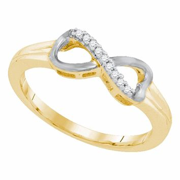 Yellow-tone Sterling Silver Womens Round Diamond Infinity Ring 1/20 Cttw