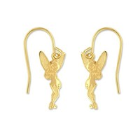 Disney Tinkerbelle Gold Over Sterling Silver Hanging Earrings