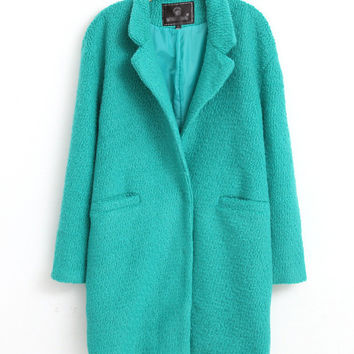 Long Sleeve Notched Collar Lapel Woolen Coat