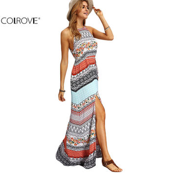 COLROVE Beach New Arrivals Summer Maxi Dresses Women Sexy Ladies Multicolor Sleeveless Vintage Print Split Long Dress
