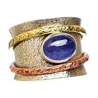 Spinner Ring Three Tone Oval Tanzanite