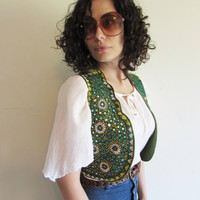 Amazing Vintage Serai Pakistan Middle East Green Mirror Embroidery Hippie Boho Vest Waistcoat