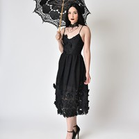 Vintage Style Black Lace Sleeveless Tea Dress