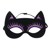 Black Contrast Purple Cat Halloween Mask