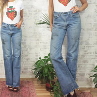 "Vintage 1970's LEVI'S Mechanic Style High Waisted Distressed Workwear Jeans || Long Inseam ||  Size 27 to 30 x 34"" Length"